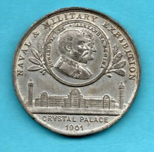 1901 NAVAL & MILITARY EXHIBITION CRYSTAL PALACE, WHITE METAL MEDAL / MEDALLION.