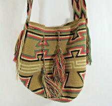 Wayúu Mochila Bag Woven Handbag Bucket with Shoulder Straps Colombian Pink Beige