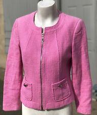Womens Tahari Arthur S Levine Pink Wool Zip Boat Neck Petite Blazer Jacket 8P