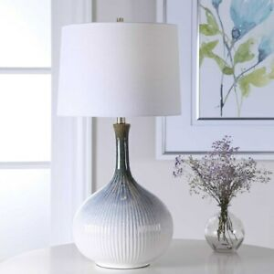 MID CENTURY MODERN FLUTED CERAMIC TABLE LAMP BRUSHED NICKEL METAL UTTERMOST