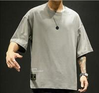Men's Short Sleeve Summer Cotton Casual Japanese T-shirt Oversize Crewneck 2019