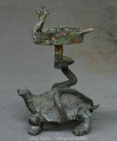 """Titulaire de chandelier de 7,6 """", ancien bronze chinois"""