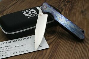 "Olamic Cutlery Rainmaker Frame Lock Knife Entropic Ti/Blue HW (4.25"" Satin)"