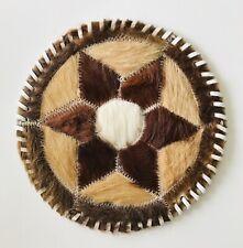 "Brazil Gaucho Leather Cowhide Trivet Mat Star Design Fur Top Dollhouse Rug 7.5"""