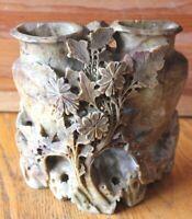 Vintage Chinese Incense Vase Asian Hand Carved Marble stone floral leaf design
