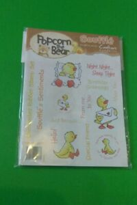 CRAFTER'S COMPANION POPCORN THE BEAR Stamp Set - SOUFFLE'S SENTIMENTS - NEW