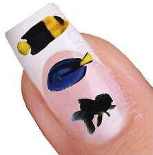 Blue and Yellow Fish Nail Stickers, Decals, Art, Tattoos 01.03.067