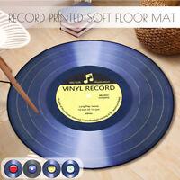 Round Floor Mat Vinyl Record Printed Lving Room Area Soft Carpet Bedroom R