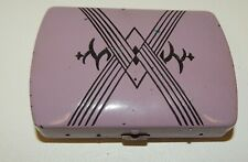 New listing Vintage Art Deco Orchid Lilac Purple Enameled Cigarette Compact Case