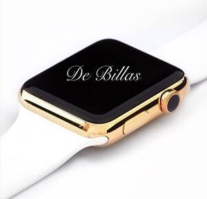 42MM Apple Watch 24K Gold Plated W/White Sport Gold Plated Band