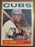 Autographed 1964 LOU BROCK  Chicago Cubs - ST. Louis Cardinals  DECEASED - NRMT