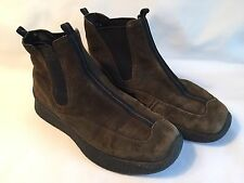 ECCO WOMEN GREEN SUEDE SLIP ON ANKLE BOOTS SIZE 37 / 6.5 REENACTORS COSPLAYERS