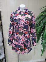 Tara Jarmon Floral Single Breasted Pea coat Women Sz M Trench Jacket 100% cotton