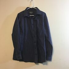 Kenneth Cole Reaction mens shirt size 17 1/2 blue stripe long sleeve winkle free