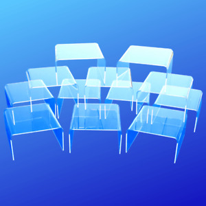 """Clear Acrylic Display Risers 4"""" Wide, Lot of 12, Made In USA"""