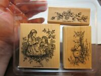 3x Stampin' Up rubber stamps. Spring, Flowers, Sisters, Bunny