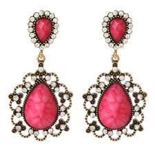 Amrita Singh Amagansett  Austrian Crystal Drop Earrings ERC 487 in Fuschia