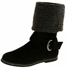 "Less than 0.5"" Faux Suede Flat Boots for Women"
