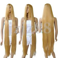 130cm Long Rapunzel Tangled Gold Blonde Straight Cosplay Hair Wig
