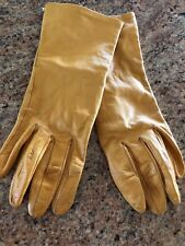 Portolano woman's gloves yellow leather silk lined wrist 7– M Italy Driving Soft