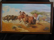 "SW Original Oil Painting M. Vaughn  Buffalo Hunting SW United States 31"" x 2"