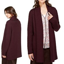 PER UNA Chunky Knit SCARF CARDIGAN with WOOL ~ Size S ~ BURGUNDY (rrp £65)