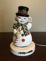 "Vintage Ceramic Snowman Lights Up 13"" Mold Christmas Lamp Night Light Cute!"