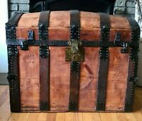 Trunk 1870's Antique Steamer Trunk Saratoga Barrel Top Footlocker Blanket Chest