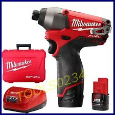 """New Milwaukee 2453-22 M12 FUEL 1/4"""" 12 Volt Hex Impact Driver Kit FREE SHIPPING"""