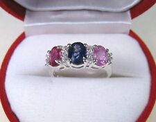 Ruby & Blue/Pink/White Sapphire Ring 2.80 Ctw sz 6.75 White Gold over 925 Silver
