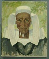 Tableau Vittini Giulio portrait Bretonne entre 1930 et 1950 coiffe bretonne