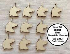 10 x 30mm Wooden Unicorn Head Laser Cut Shape Ply Blank Craft Wood Shapes DIY