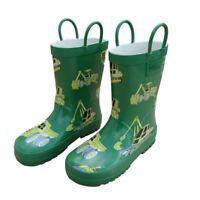 Green Construction Toddler Boys Rain Boots 5-10