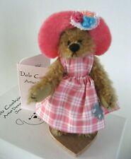 "Vintage Deb Canham Hattie Miniature Mohair Artist Teddy Bear ""Rainy Days"" Mib"