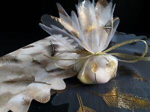 tulle rond organza plume doré/or contenant dragées décoration mariage.lot 15pcs