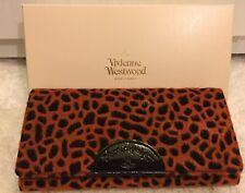 VIVIENNE WESTWOOD CHEETAH PRINT PURSE CREDIT CARD WALLET ORANGE GIFT BOXED BNWT