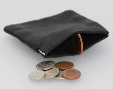 Mens Womens Ladies Real Quality Leather Black Small Snap Top Coin Purse Wallet