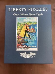 """Liberty Wooden Jigsaw Puzzle """"New England United Airlines""""  580 pieces, Mint!"""