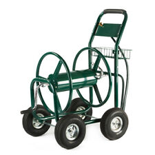 Garden Water Hose Reel Cart Outdoor Heavy Duty Yard Planting w/ Built-in Basket