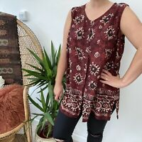 Vtg St Michaels Sleeveless Blouse Shirt Dark Red Batik Ethnic Boho Sz 16 18 20