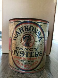 Rare  Wakonsa One Gallon Oyster Can from Iowa