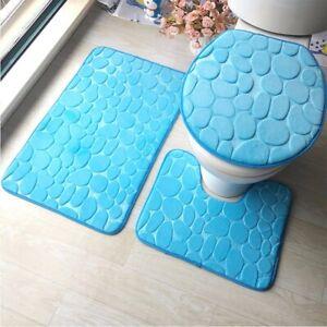 Bathroom Bath Rug Set Toilet Seat Floor Mat Flannel Anti-Slip Carpet 3Pcs/set