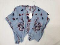 ZARA Denim Floral Embroidered Jacket Poncho Tassels Kimono Medium One Size