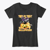 Funny Black Cat Trick Or Treat Halloween Women's Premium Tee T-Shirt
