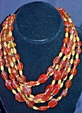 vintage glass agate amber multi strand necklace SHOW STOPPING FUN beaded beauty