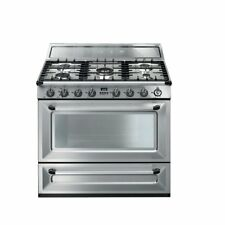 """SMEG 36"""" TRADITIONAL DUAL FUEL STAINLESS RANGE 5 SEALED BURNERS CONVECTION OVEN"""