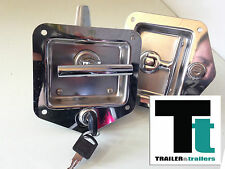 Flush Mount T Handle Lock & Key - TWIN PACK Suit Trades Van or Landscape Trailer