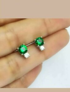 2.Ct Round Cut Green Emerald Solitaire Stud Earrings 14K White Gold Over