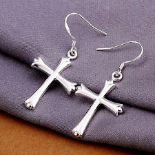 womens cross hook dangle earrings 1.75 inch 925 sterling silver