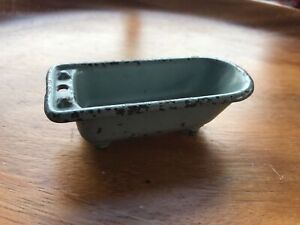 "3-1/2 x 1-1/2"" Vintage Kilgore Gray Paint Iron Bath Tub Doll House Toy Bathroom"